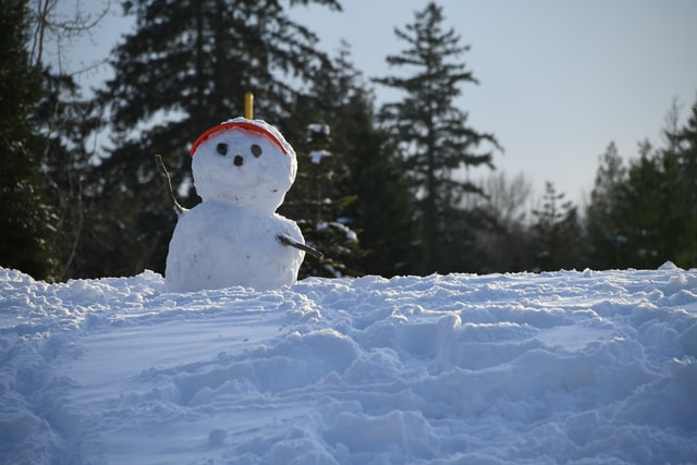 Making a snowman is a fun thing to do in the winter